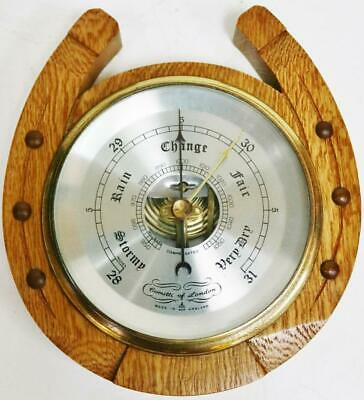 Small Comitti Of London Solid Oak Wall Barometer In A Horseshoe Design, Working