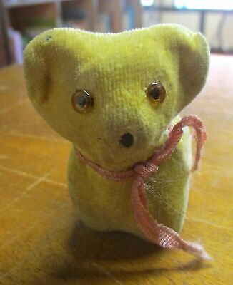TEDDY BEAR w/ RETRACTABLE TAPE MEASURE TAIL~VINTAGE c.1960s~NOVELTY SEWING TOOLS
