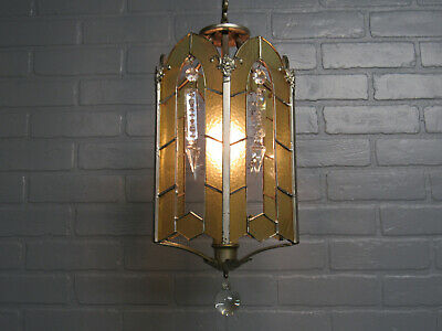 Vintage Antique Art Deco Silverplate Small Chandelier Light Amber Leaded Glass