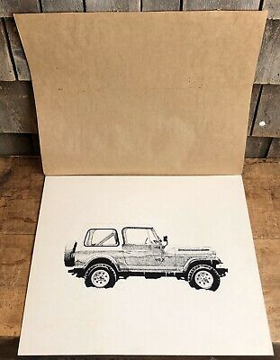 Super Cool Vintage Auto Car JEEP Artist Drawing Artwork 17x15