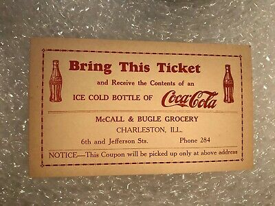 1920s Coca-Cola free bottle coupon postcard~Kings Book Store Charleston IL
