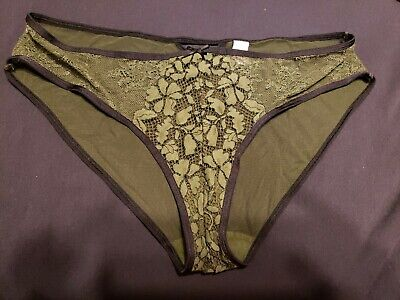 Vtg Victorias Secret Olive Green Black Lace Bikini Panties Rare Design Sz L Full