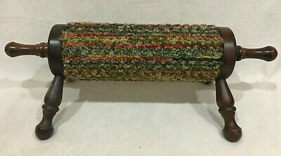 Vintage Rolling Pin Style Gout/Planer Fasciitis Foot Stool Fabric Covered Wood