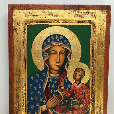 Orthodox Icon Hand Painted Byzantine Christian Pantocrator Mary & Jesus 7x9.5 in