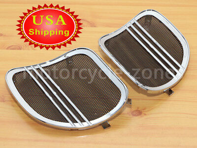 USA Chrome Tri Line Speaker Grills Covers Accents Harley Road Glide 15-2017 16