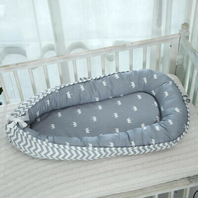 Baby Bed Breathable Newborn Portable Infant Lounger Nest Crib Crown_Blue