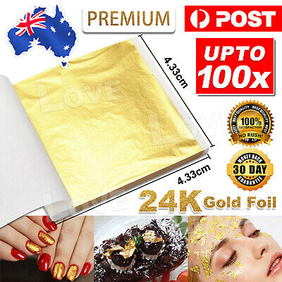 10/100x Pure 24K Edible Gold Leaf Sheets Cooking Framing Art Craft Decorating