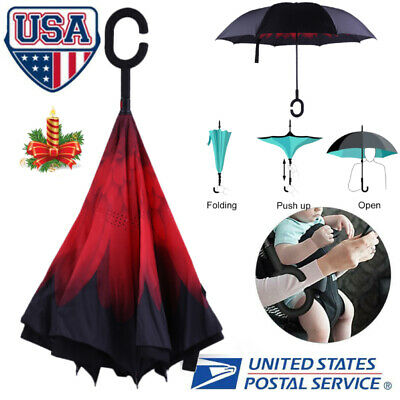 Double Layer Umbrella C-Handle Windproof Folding Inverted Upside Down Reverse f8