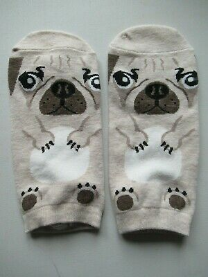 NEW Ladies Girls (1 Pair) Pug Dog Beige Ankle / Trainer Socks FREE P&P