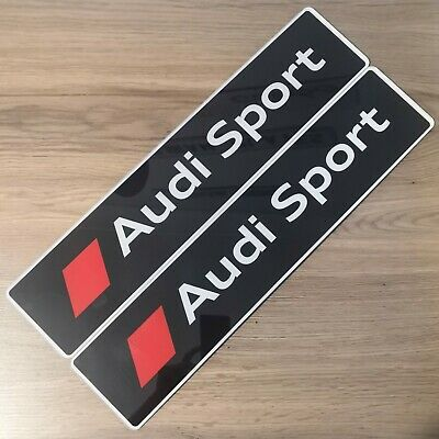 Pair Of Audi Sport Black Show Number Plates. S3, S4, S5, RS3, RS4, RS5, Quattro