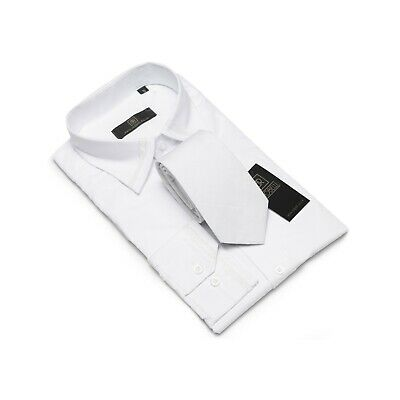 Robelli White Bling Glitter Collar Cuff Cotton Blend Dress Shirt & matching Tie