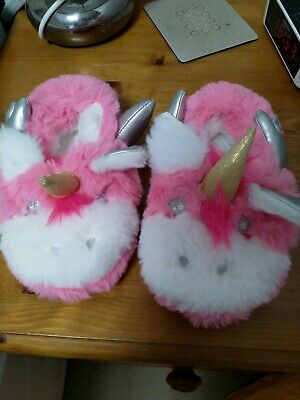 GIRLS PINK AND WHITE UNICORN SLIPPERS SIZE 9 INFANT Hardly Worn Good Condition