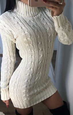 Womens Ladies Cable Knitted Polo Roll Neck Jumper Long Sleeve Stretch Dress