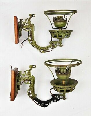 Pair Electrified Cast Iron Green Painted Swing Arm Wall Mount Lamp Sconces