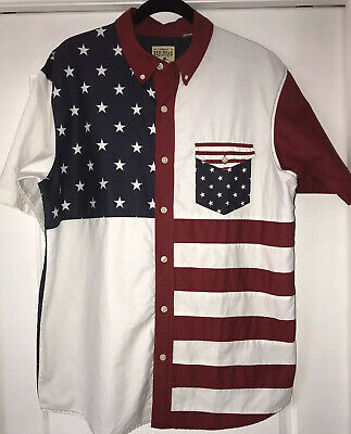 Red Head Brand Co Mens Patriotic Short   Sleeve Cotton Shirt. Size Large.