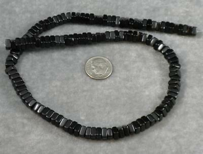Natural Jet Lignite Gemstone Loose Beads 6mm Square Heishi Rondelle 16""