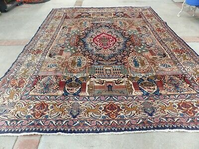 ANTIQUE RUG HAND KNOTTED PICTORIAL SIGNS ORIENTAL RUGS 10x13