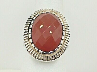 Whitney Kelly Sterling Silver 925 Oval Cabochon Cut Red Carnelian Gemstone Ring