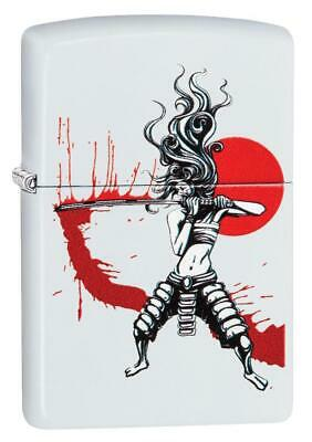 Zippo Samurai Girl Blood Japan Theme White Matte Windproof Lighter #214-CI407609