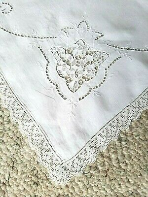 Vintage WHITE MADEIRA Cutwork Cotton Table Topper Tablecloth Square ~ 35 x 34