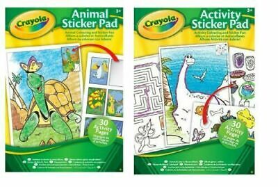 Crayola Animal Activity Sticker Pad Puzzles Colouring Book Kids Fun Learning Gif