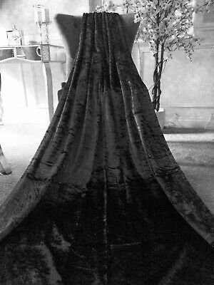 """CHARCOAL GREY CRUSHED/CRUSH VELVET EYELET FULLY LINED 1 DOOR CURTAIN~46""""W x 90""""L"""