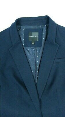 The Limited Collection Womens Blazer Small Navy Blue Bunched Sleeve Suit Jacket