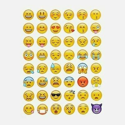 144 Emoji Stickers Sheet Emoticon Sticker Kids Party-School-iphone-Smiley Faces