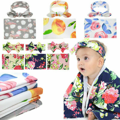 Newborn Swaddle Baby Infant Blanket Cotton Wrap Sleeping Bag Headband Bundle Set