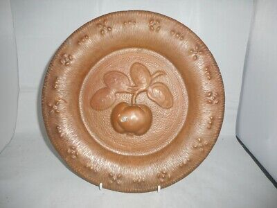 Antique Copper Arts and Crafts Charger Plate with Embossed Apple Decoration
