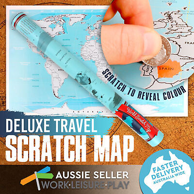 Scratch Off Map World Deluxe Large Personalized Travel Poster Travel Atlas