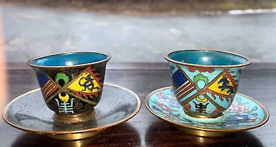 Set Of Two Chinese Late Qing Period Cloisonné Cup And Saucer With Flags