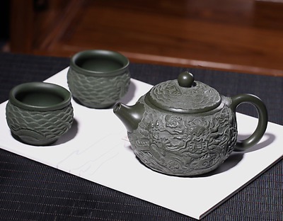 Chinese Yixing Zisha Green Clay Handmade Carving Dragon Xishi Pot Gongfu Tea Set