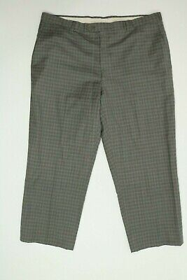 Mens Hart Schaffner Marx Gray Check Wool Dress Pants (Flat Front) 40x27 EUC