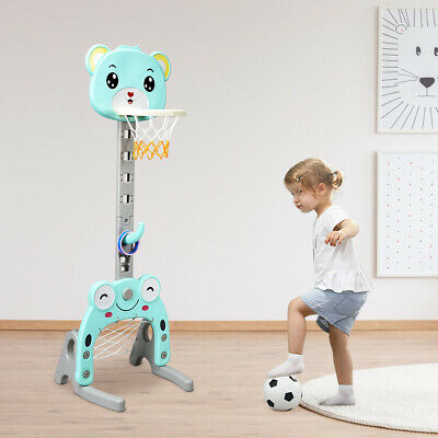 3-in-1 Kids Basketball Hoop Set Stand Adjustable Ring Toss Soccer Goal Football