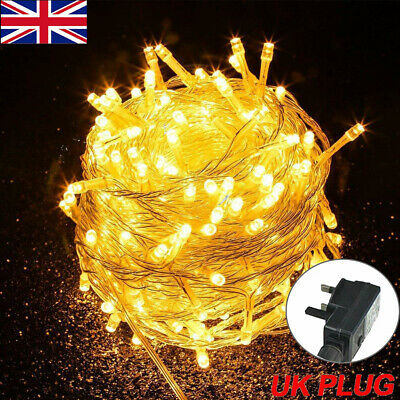 Fairy String Lights 100-1000 LED Clear Cable Christmas Wedding Indoor Outdoor UK