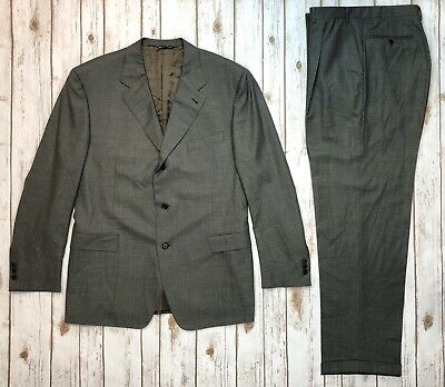 Canali Proposta Men's 40L 100% Wool Suit 3 Botton 34x33 Cuffed Pant Gray Blazer