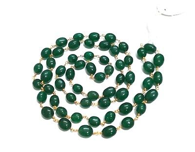 3-10 Ft Green Quartz Oval 7x9-8x11mm Beads, Rosary Beaded Chain Gold Plated Wire
