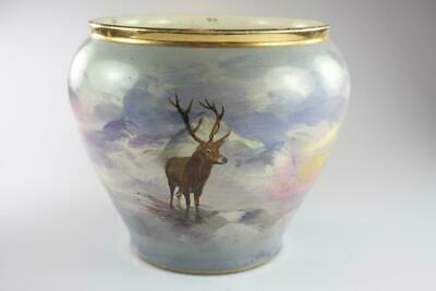 Antique Victorian Hand Painted Deer Motif  Large Vase Planter Made In England