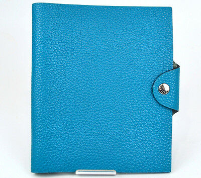 Authentic HERMES Blue Jean Leather Agenda Note Cover