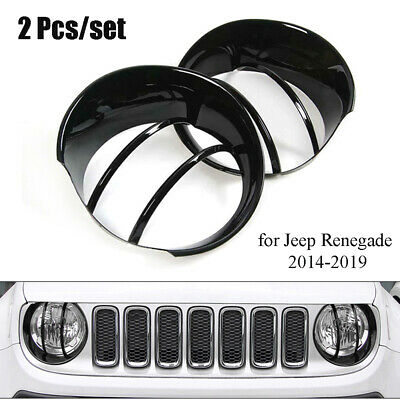 Pair Headlight Lamp 3D Circle Hood Guard Decor Cover Fit for Jeep Renegade 14-19