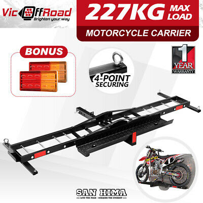 "SAN HIMA Motorcycle Carrier Motorbike Rack Dirt Bike Ramp 2"" Towbar Steel Lights"
