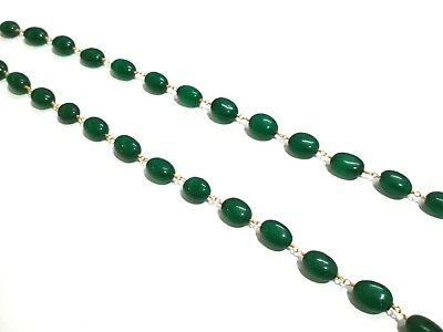 3-10 Ft Green Quartz Oval 9x11-10x13 Beads, Rosary Beaded Chain Gold Plated Wire