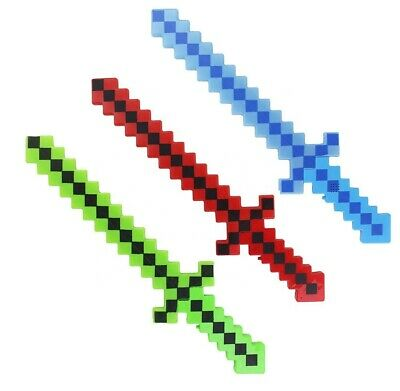 Minecraft Inspired Flashing Led Pixel Block Sword Toy Prop With Sound Effects