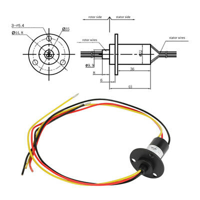Mini Slip Ring 3 Wires 15A 0-600V 250RPM Wind Turbine Power Generator