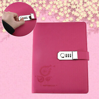 Large Diaries Journals Notebook PU Leather A5 Code Lock Secret Diary Pink