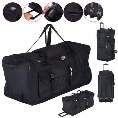 "36"" Rolling Wheeled Duffle Bag Tote Carry On Travel Suitcase Luggage Black New"
