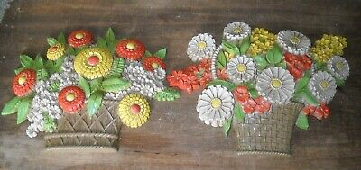 Vtg Retro Homco Syroco Plastic Flowers in Basket Wall Hanging Plaques Lot of 2