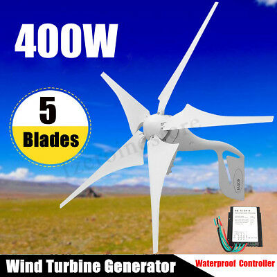 400W Wind Turbine Generator Kit AC 12V/24V 5 Blades DC With Charge Controller