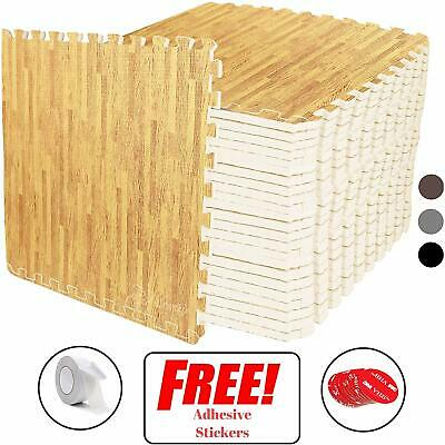 Interlocking Light Wood Pattern EVA Foam Gym Flooring Floor Mat Tiles 60X60X1 cm